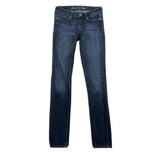 American Eagle Skinny Low Rise Blue Jeans 00